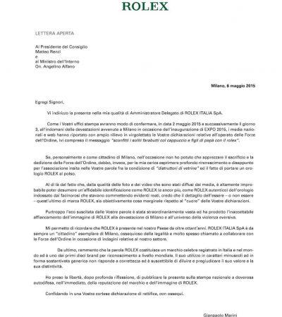Rolex schreibt offenen Brief an Italiens Ministerpräsidenten