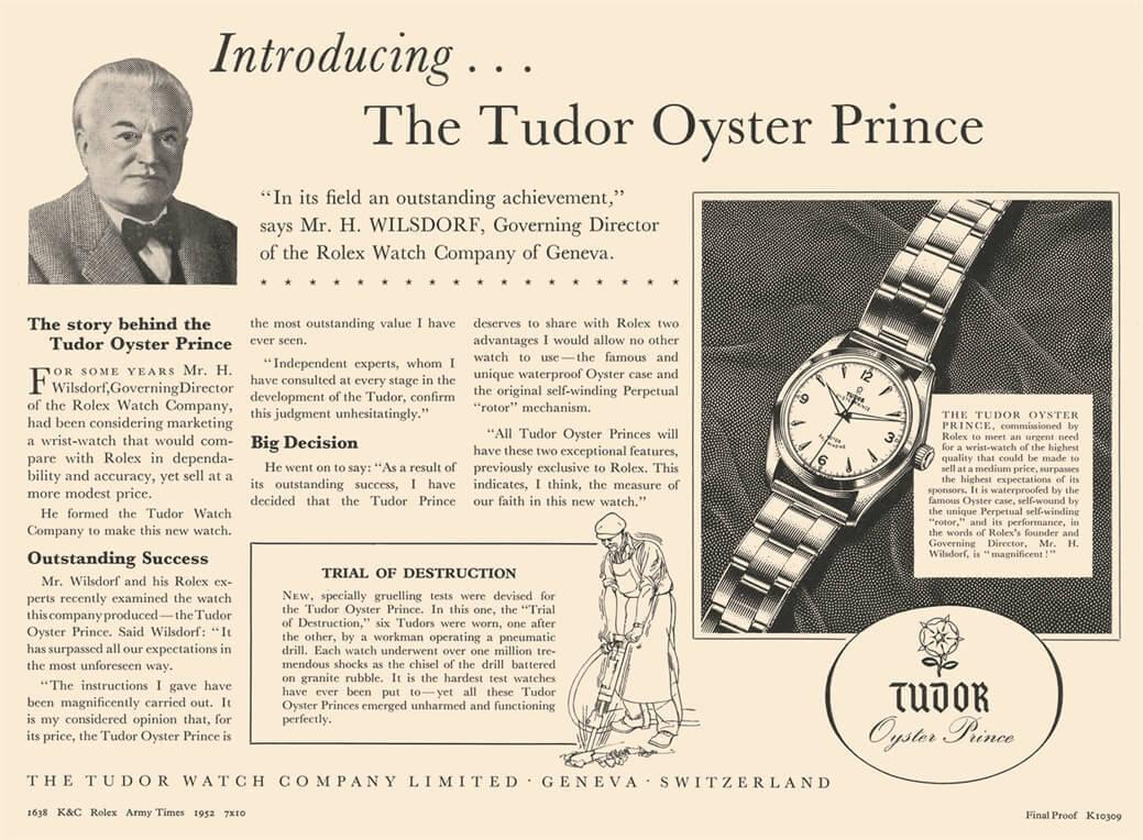 Tudor Oyster Prince Werbung aus dem Jahre 1952