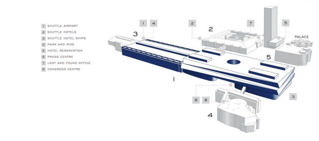Hier blau hervorgehoben die Halle 1